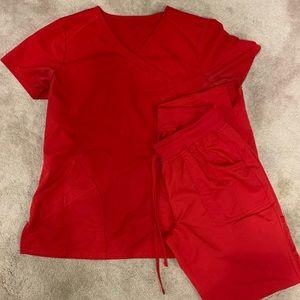 Red scrub set